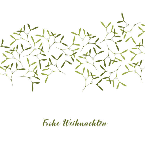 Christmas Greeting Card. Mistletoe on White Background. Text in German Frohe Weihnachten, in English Merry Christmas. Vector Illustration. Christmas Greeting Card. A lot of Mistletoe on White Background. Text in German Frohe Weihnachten, in English Merry Christmas. weihnachten stock illustrations