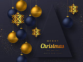 Christmas greeting card with hanging baubles and golden snowflakes. Luxury New Year holiday design. Dark background. Vector illustration.