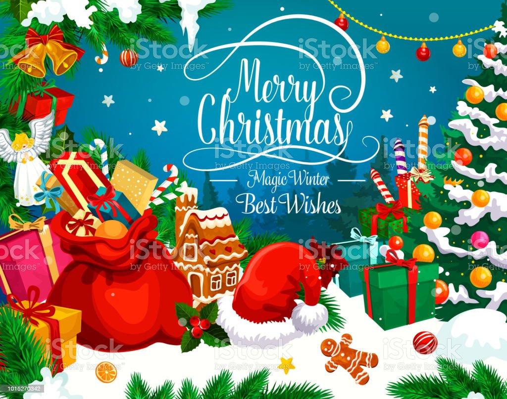 Christmas Greeting Card Of Xmas Gift And Santa Hat Stock Vector Art