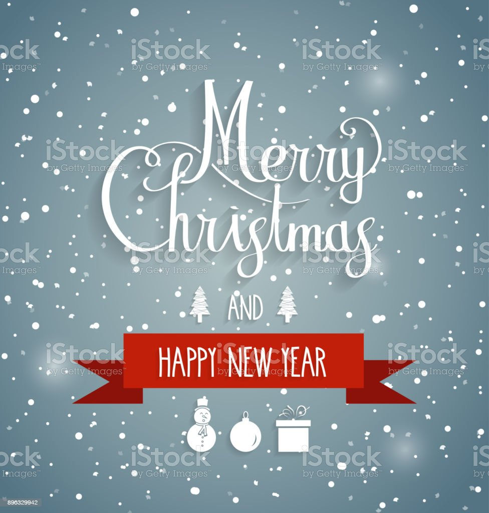 Christmas greeting card on blue background hand lettering happy new christmas greeting card on blue background hand lettering happy new year message on red m4hsunfo