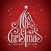 Christmas Greeting card. Merry Christmas Lettering on red background. Happy new year message.