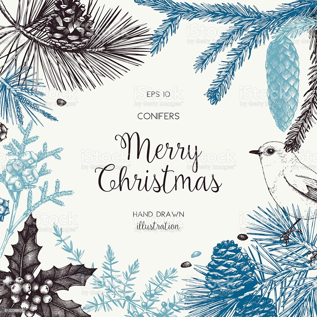 Christmas greeting card or invitation design. - ilustración de arte vectorial
