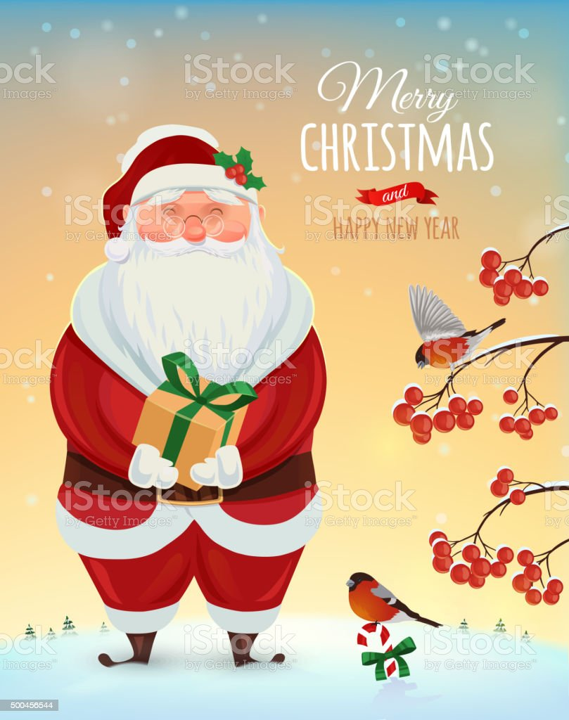 Merry Christmas Wishes Funny.Christmas Greeting Card Poster Funny Santa On A Background Of A