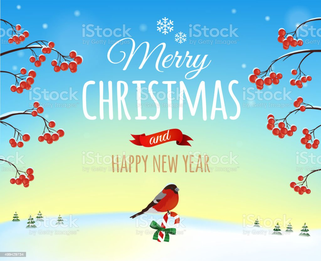 Christmas greeting card, poster. Bullfinch bird on a background of a...