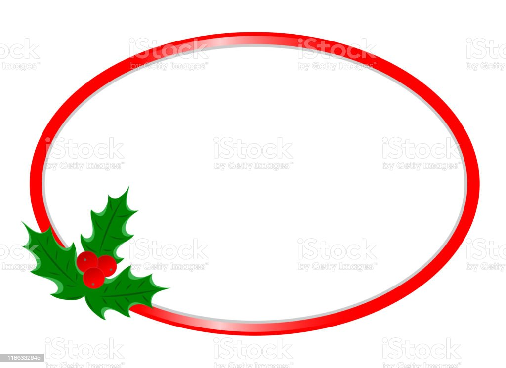 christmas greeting card red oval border template stock