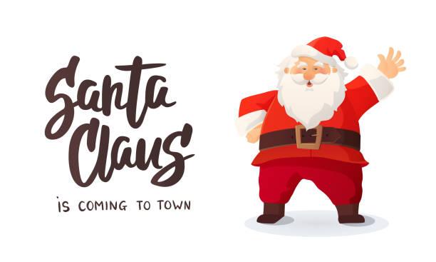 """weihnachts-grußkarte. """"santa claus is coming"""" text. cartoon vektor-illustration des weihnachtsmannes winken eine hand - nikolaus stock-grafiken, -clipart, -cartoons und -symbole"""