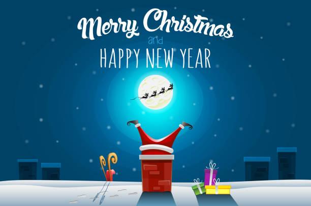 bildbanksillustrationer, clip art samt tecknat material och ikoner med christmas gratulationskort - jultomten fastnar i skorstenen på taket på vinternatt - skorsten