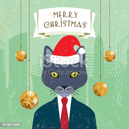 Christmas greeting card with a banner and a cat-headed businessman wearing a Santa Klaus' hat.