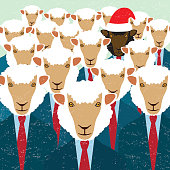 Christmas greeting card with black sheep-headed businessman wearing a Santa Klaus' hat  and hidden among white sheep-headed businessmen.