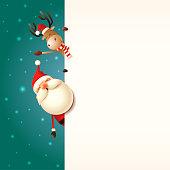 Christmas greeting card template. Santa Claus and Reindeer peeking behind board snowy background