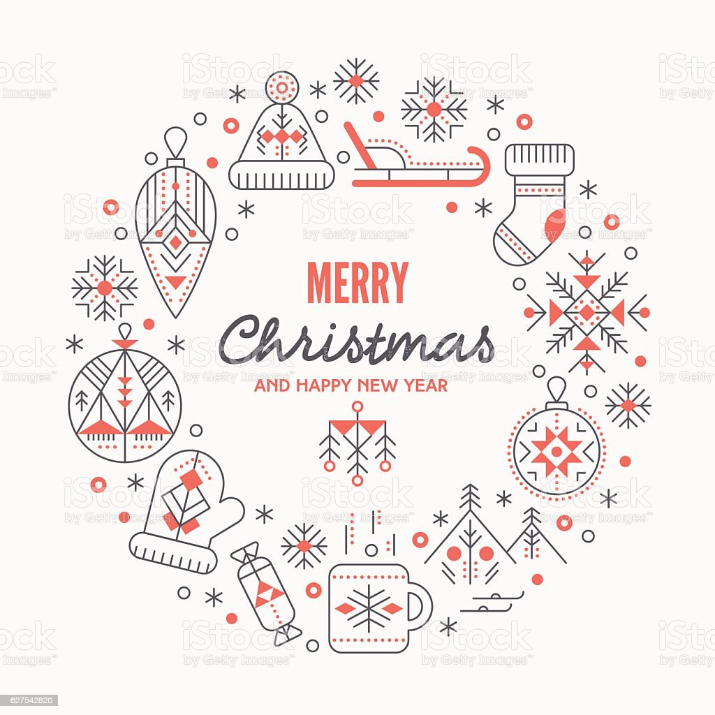 Christmas greeting card template with outlined signs forming a ring vector art illustration