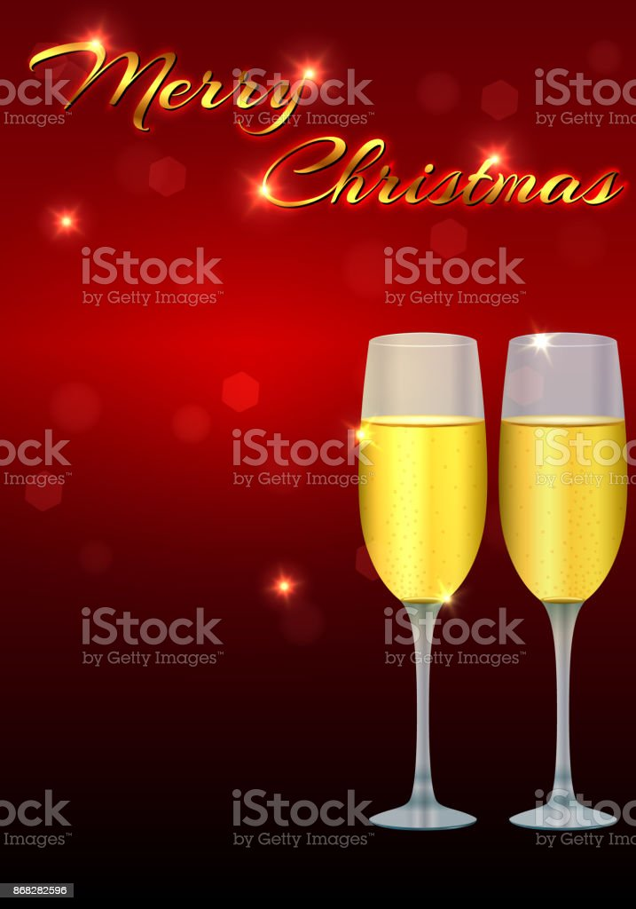 Christmas Greeting Card Template With Two Glasses Of Champagne On A