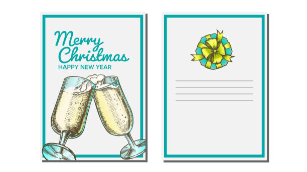 Christmas Greeting Card Vector. Champagne Bottle. Holiday Concept. Hand Drawn In Vintage Style Illustration Christmas Greeting Card Vector. Champagne Bottle. Seasons. Winter Wishes. Holiday Concept. Hand Drawn Illustration champaign illinois stock illustrations