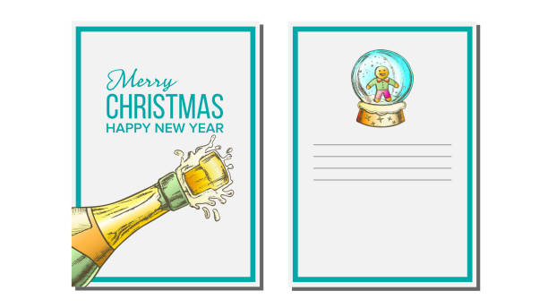 Christmas Greeting Card Vector. Champagne Bottle. Seasons. Holiday Concept. Hand Drawn In Vintage Style Illustration Christmas Greeting Card Vector. Champagne Bottle. Seasons. Winter Wishes. Holiday Concept. Hand Drawn In Vintage Style Illustration champaign illinois stock illustrations