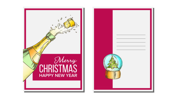 Christmas Greeting Card Vector. Champagne Bottle. Seasons. Winter Wishes. Hand Drawn In Vintage Style Illustration Christmas Greeting Card Vector. Champagne Bottle. Seasons. Holiday Concept. Hand Drawn In Vintage Style Illustration champaign illinois stock illustrations