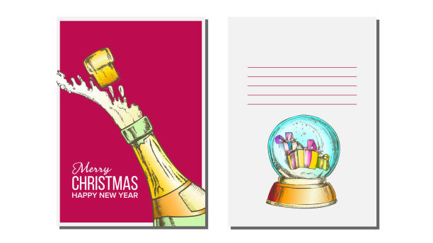Christmas Greeting Card Vector. Champagne Bottle. Seasons. Winter Wishes. Holiday Concept. Hand Drawn Illustration Christmas Greeting Card Vector. Champagne Bottle. Seasons. Winter Wishes. Hand Drawn In Vintage Style Illustration champaign illinois stock illustrations