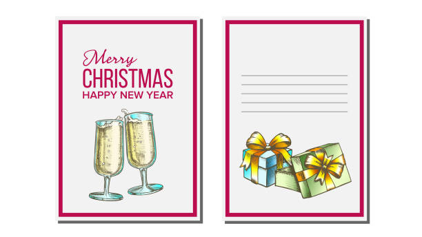 Christmas Greeting Card Vector. Champagne Bottle. Seasons. Winter Wishes. Holiday Concept. Hand Drawn Illustration Christmas Greeting Card Vector. Champagne Bottle. Holiday Concept. Hand Drawn In Vintage Style Illustration champaign illinois stock illustrations