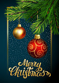 Vector illustration - Christmas greeting card with christmas ornament. EPS10