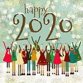 Children celebrating new year