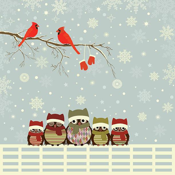 stockillustraties, clipart, cartoons en iconen met christmas greeting card - family winter holiday