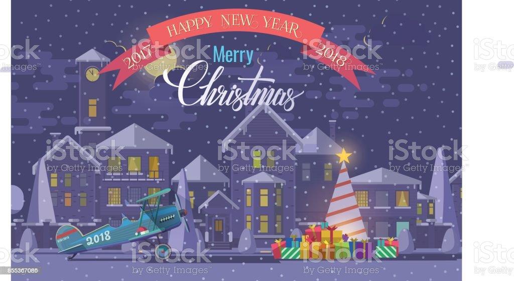 Frohe Weihnachten Flugzeug.Weihnachtsgrusskarte Vektorillustration Von Flugzeug Und