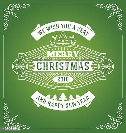 Christmas greeting card vintage design with deers and Christmas tree