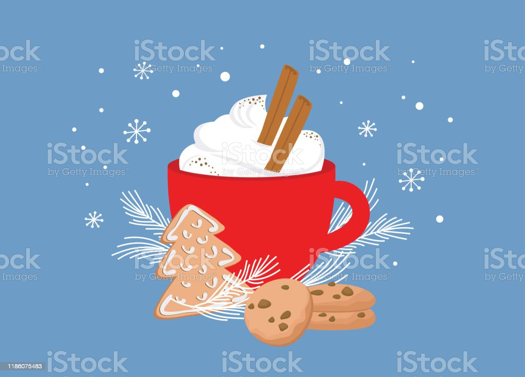 Christmas greeting card, winter invitation with red cup of hot drink. Cocoa or coffee decorated with cinnamon sticks, gingerbread cookie and fir tree branches. illustration background - Royalty-free Aconchegante arte vetorial