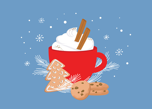 Christmas greeting card, winter invitation with red cup of hot drink. Cocoa or coffee decorated with cinnamon sticks, gingerbread cookie and fir tree branches. illustration background