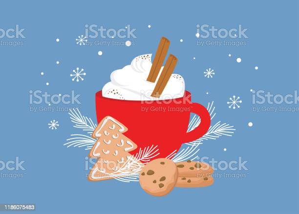 Christmas Greeting Card Winter Invitation With Red Cup Of Hot Drink Cocoa Or Coffee Decorated With Cinnamon Sticks Gingerbread Cookie And Fir Tree Branches Illustration Background - Arte vetorial de stock e mais imagens de Aconchegante