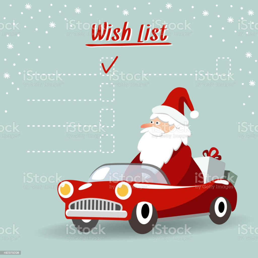Christmas greeting card wish listt santa claus retro car vector christmas greeting card wish listt santa claus retro car vector royalty m4hsunfo