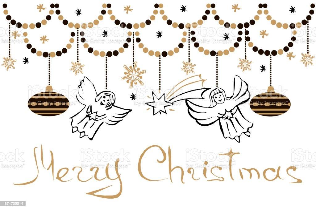 天使星雪の結晶やクリスマス ボールクリスマスのグリーティング カードベクトル休日イラスト手書きテキスト メリー クリスマス イラストレーションのベクターアート素材や画像を多数ご用意 Istock