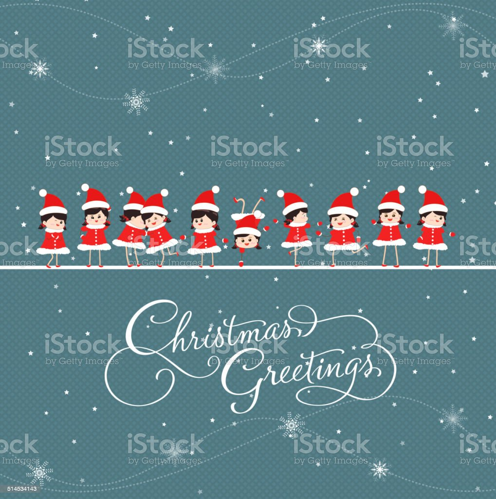 christmas greeting card with baby girls vector art illustration