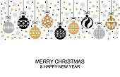 Vector illustrations of Christmas greeting card with balls hanging among confetti