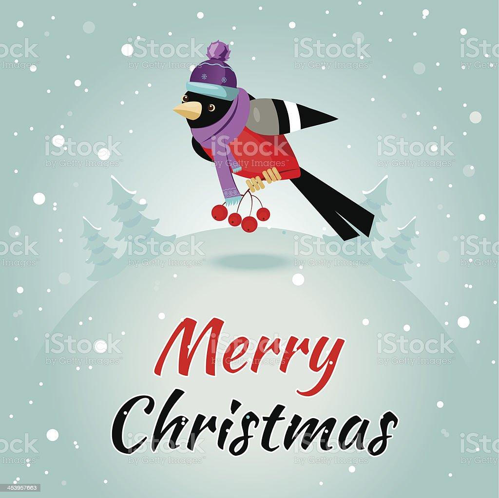 Christmas greeting card with bullfinches and rowan, vector illustration. vector art illustration