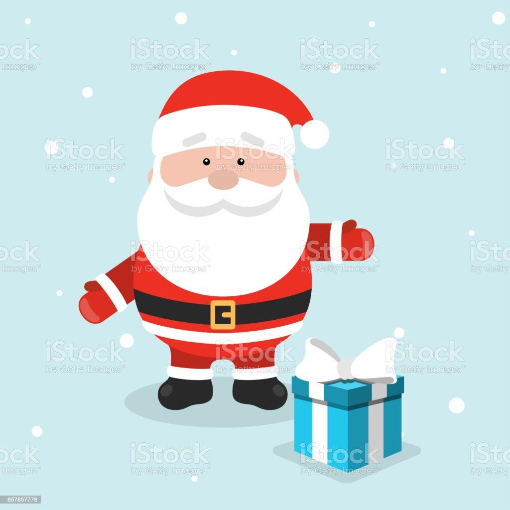 Imagenes De Papa Noel De Navidad.Ilustracion De Tarjeta De Felicitacion De Navidad Con Papa