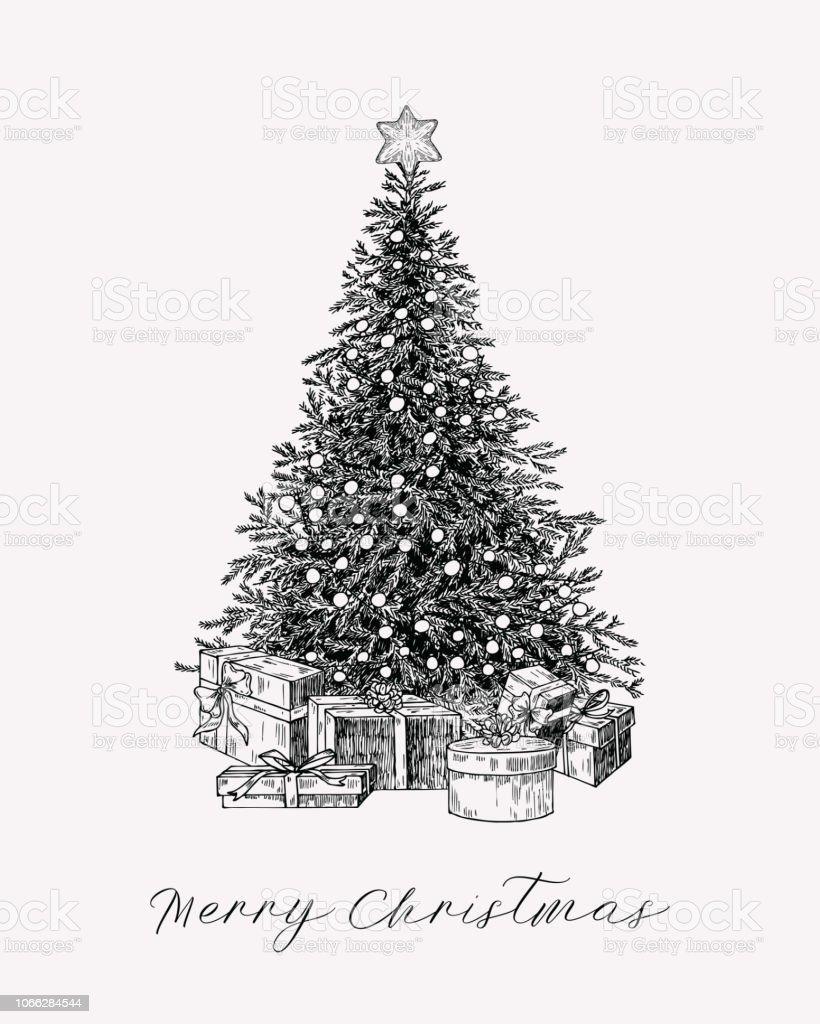 Weihnachtsbaum Gezeichnet.Weihnachtsgrußkarte Mit Weihnachtsbaum Und Geschenke Im Vintagestil Hand Gezeichnet Urlaub Gruß Vorlage Stock Vektor Art Und Mehr Bilder Von Alt