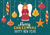 Christmas greeting card with cute angel and Christmas ornements.
