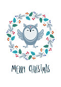 Christmas greeting card with cute bird. Vector background.