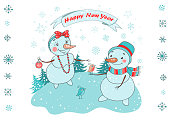Christmas Greeting Card with cute couple snowman, birds and snowflakes on white background. The phrase on a ribbon - Happy New year. Lovely illustration in cartoon style. Horizontal