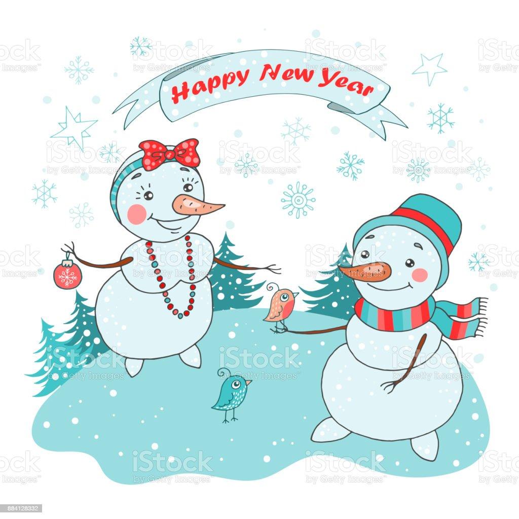 かわいいカップル雪だるま鳥の雪とクリスマスのグリーティング カード