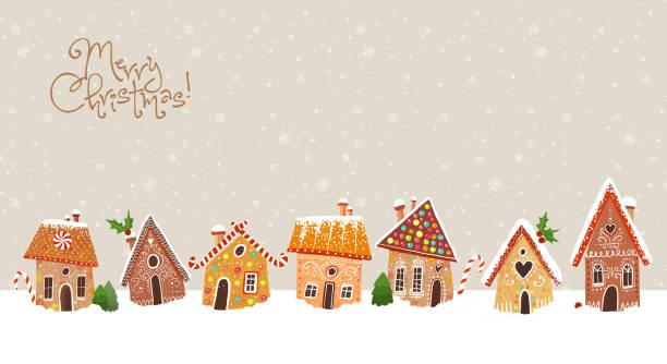 bildbanksillustrationer, clip art samt tecknat material och ikoner med jul gratulationskort med söta pepparkakor hus - pepparkaka