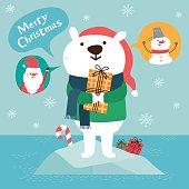 Christmas greeting card with cute polar bear.vector illustration