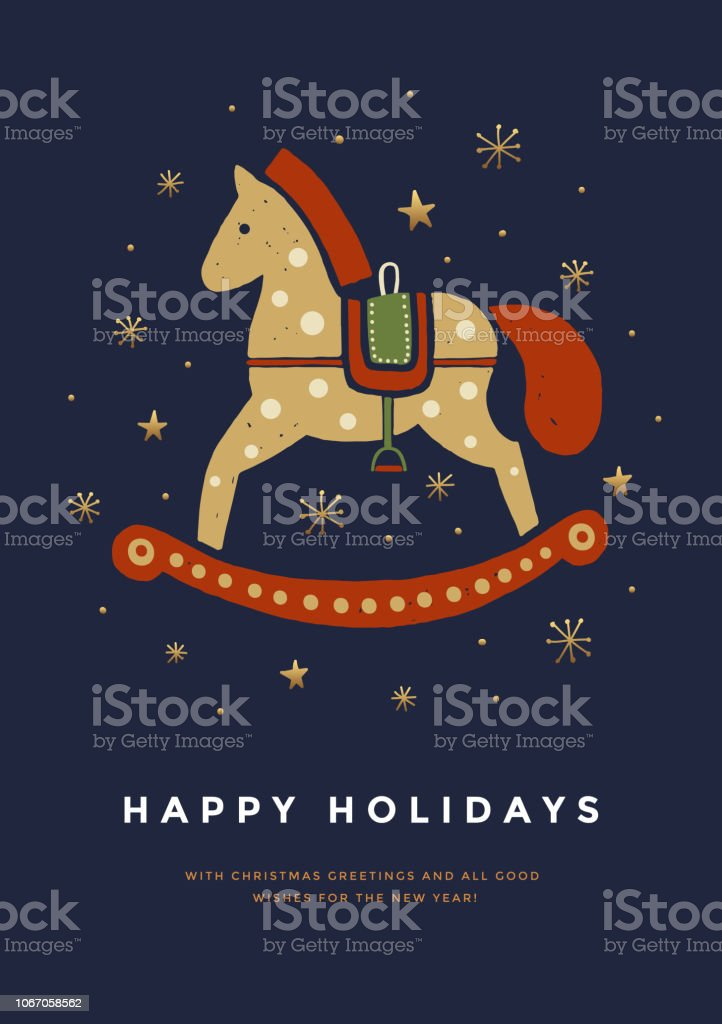 Christmas Greeting Card With Cute Rocking Horse Stock Illustration Download Image Now Istock