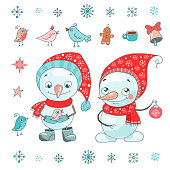 Christmas vector set with cute snowman, small byrdie, bell, snowflake and other elements for new year's design in cartoon style. Lovely xmas illustration on white background.