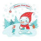 Christmas Greeting Card with cute snowman, birds and snowflakes on white background. The phrase on a ribbon - Happy New year. Lovely illustration in cartoon style.