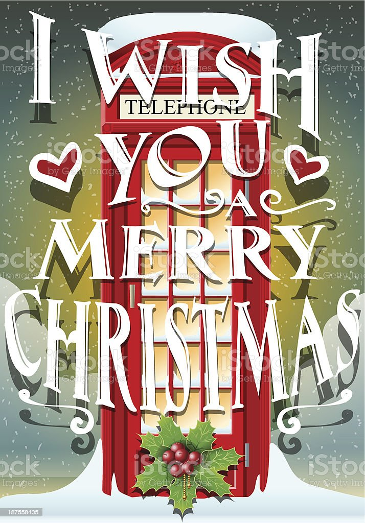 Christmas Greeting Card with English Red Cabin vector art illustration