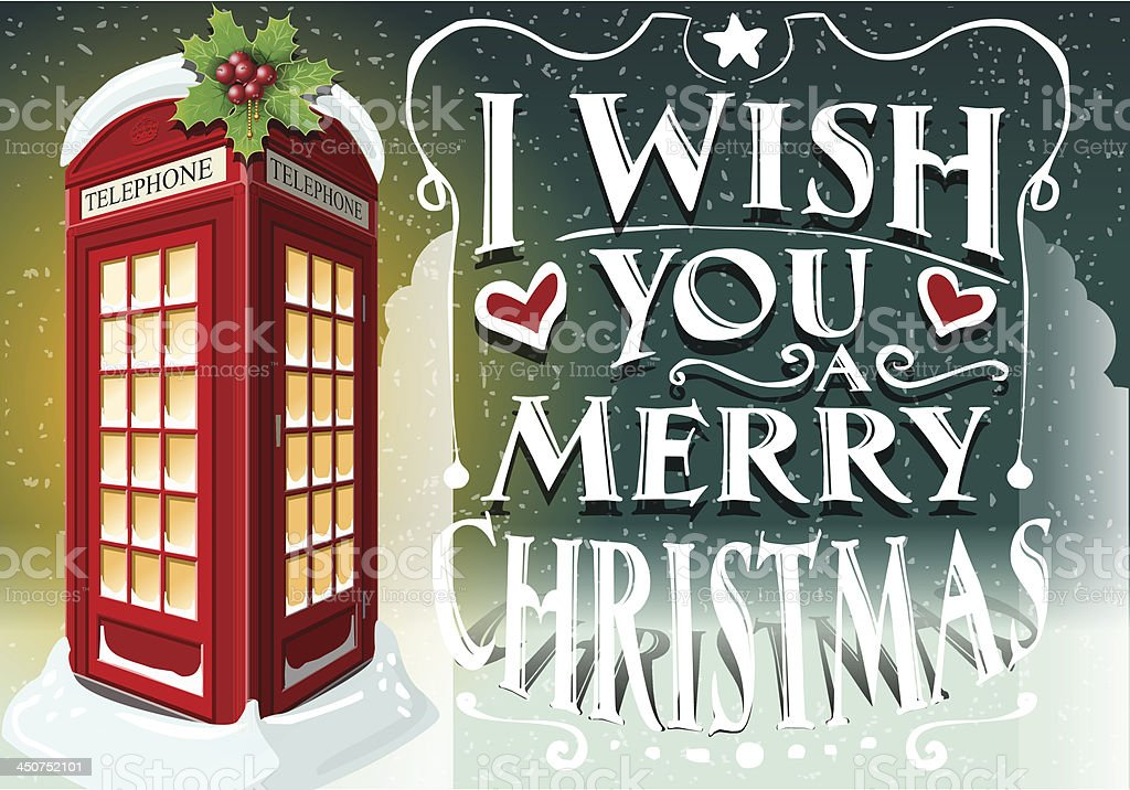 Immagini Natale Inglese.Biglietto Di Auguri Di Natale Con Inglese Rosso Cabina