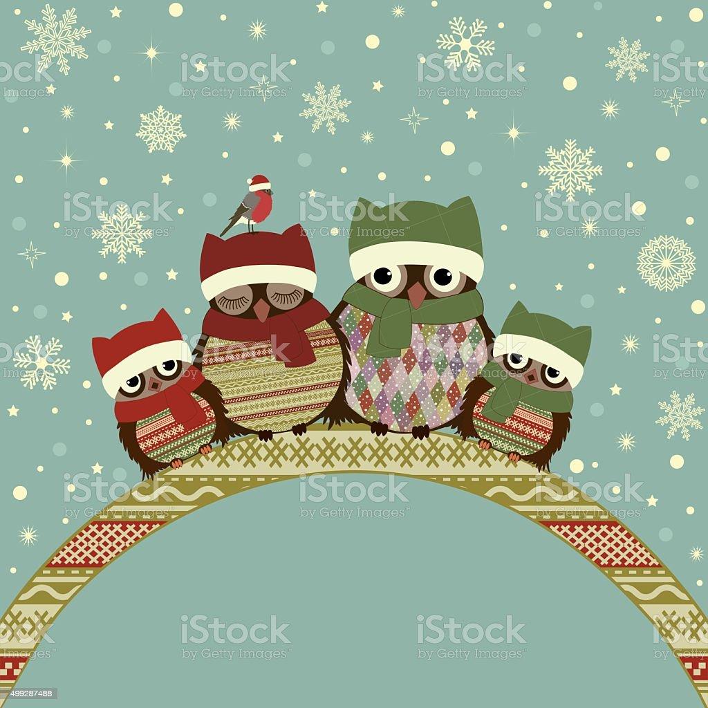 Auguri Di Natale Per La Famiglia.Di Auguri Di Natale Con Una Famiglia Di Owls Immagini Vettoriali