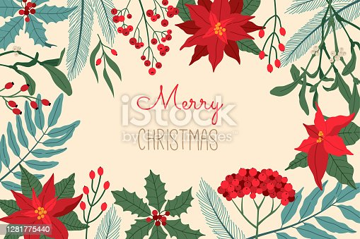 Christmas greeting card, with festive plants, invitation for holiday party, traditional symbol, horizontal border. Vector illustration in flat cartoon style, isolated on light yellow background.