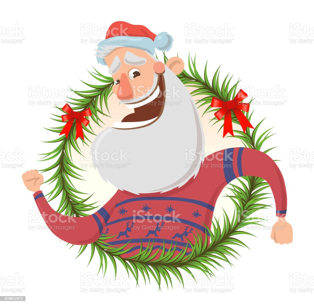 Christmas Greeting Card With Funny Santa Claus Smiling And Waving